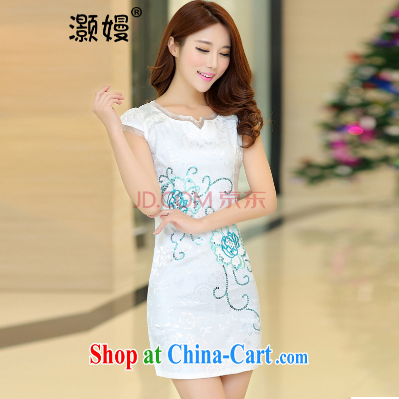 Collective Golden Harvest 2015 summer dresses new Chinese Dress Korean bridal toast clothing beauty graphics thin larger Chinese blue and white porcelain dress floral cheongsam dress FW 2 white Hibiscus S