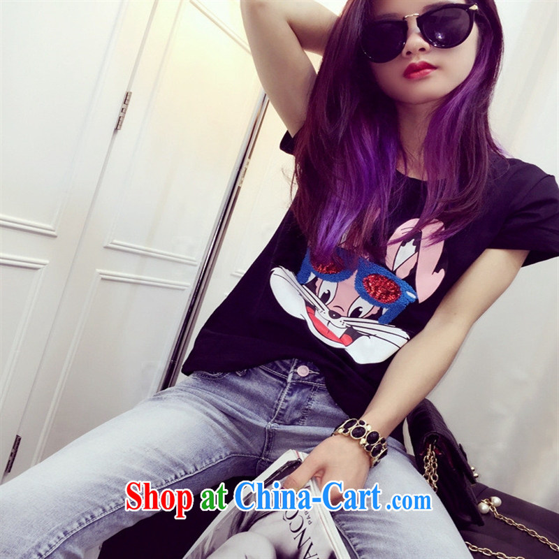 Qin Qing store European site 2015 spring new white rabbit, embroidered new stylish 100 ground short-sleeved T shirt T-shirt woman black are code