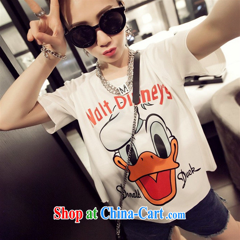 Qin Qing store 2015 summer new boudoir honey sister with Korean version the code loose cartoon T-shirt short-sleeve girls T-shirt black XL