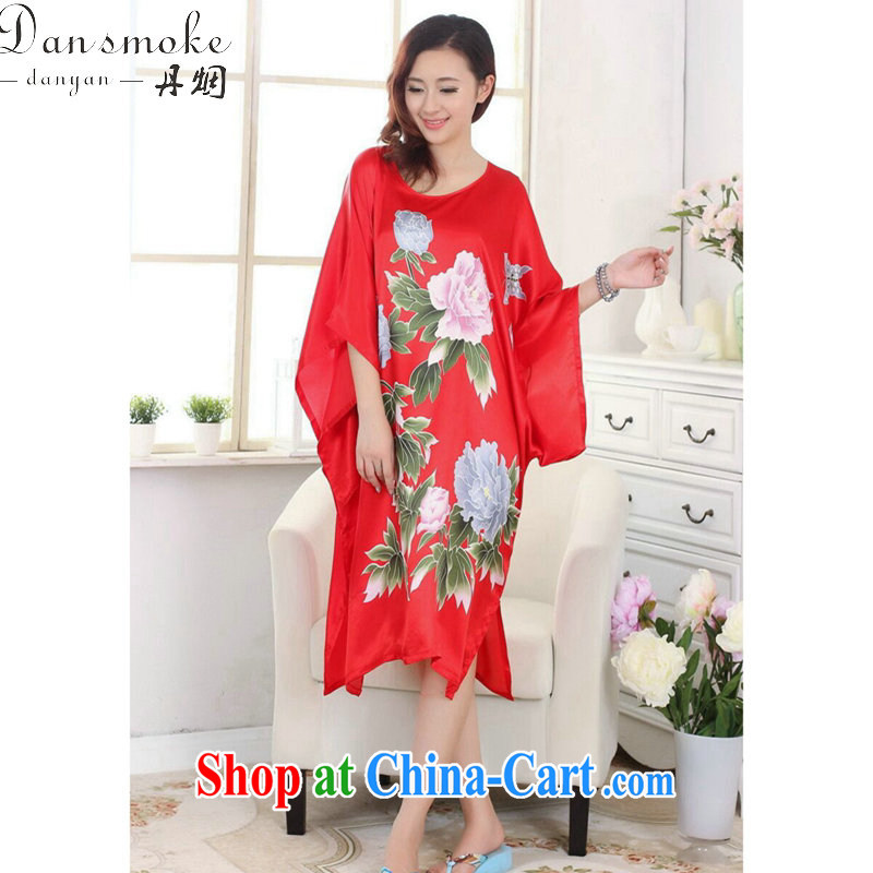 Dan smoke Tang replace pajamas ladies summer wear new round-collar hand-painted T-shirt silk loose bat shirts and elegant dress robes S 4017 are code