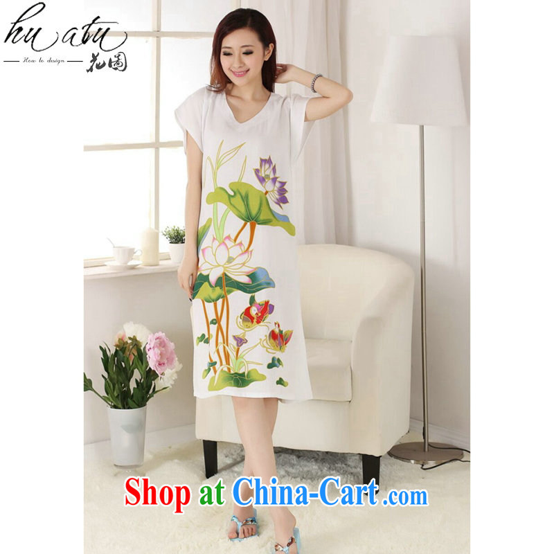 Take the female Chinese summer new V collar cotton hand-painted Chinese ladies robes bathrobes short-sleeved dresses pajamas white are code