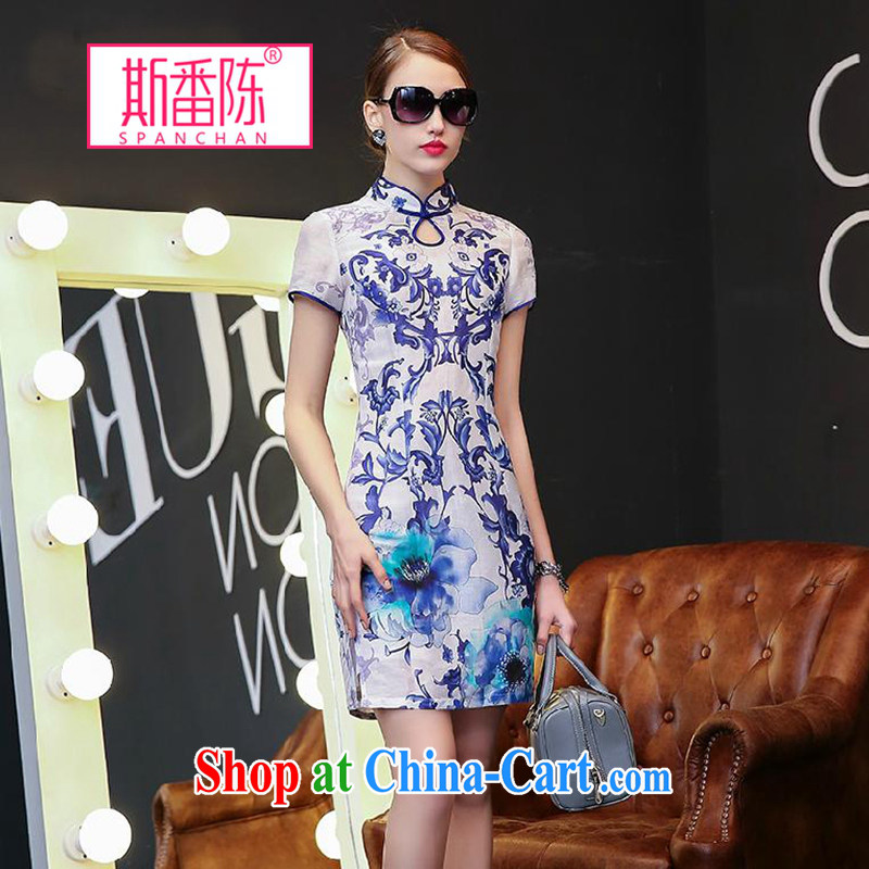 Double, Chen 2015 spring and summer new Ethnic Wind stamp dress blue and white porcelain short-sleeved Silk Dresses beauty retro style dresses blue and white porcelain S