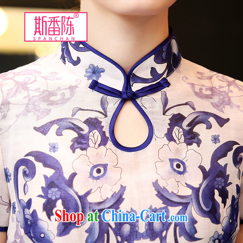 Double, Chen 2015 spring and summer with new Ethnic Wind stamp dress blue and white porcelain short-sleeved Silk Dresses beauty retro style dresses blue and white porcelain S, double, Chen (spanchan), online shopping