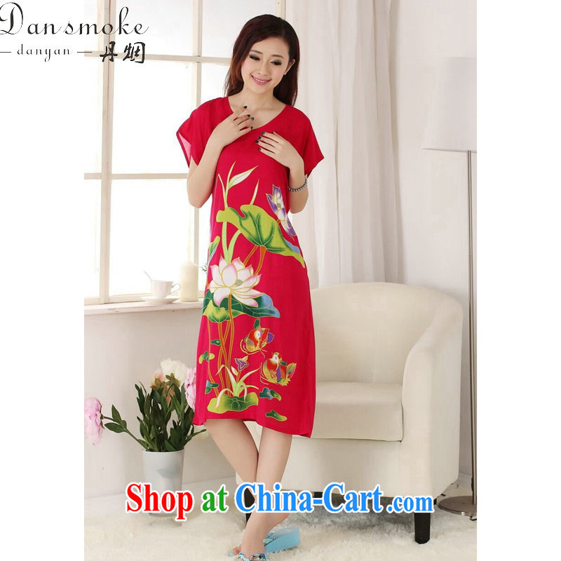 Bin Laden smoke female Tang replace summer new V collar cotton hand-painted Chinese ladies robes bathrobes short-sleeved dresses pajamas - C of red are code