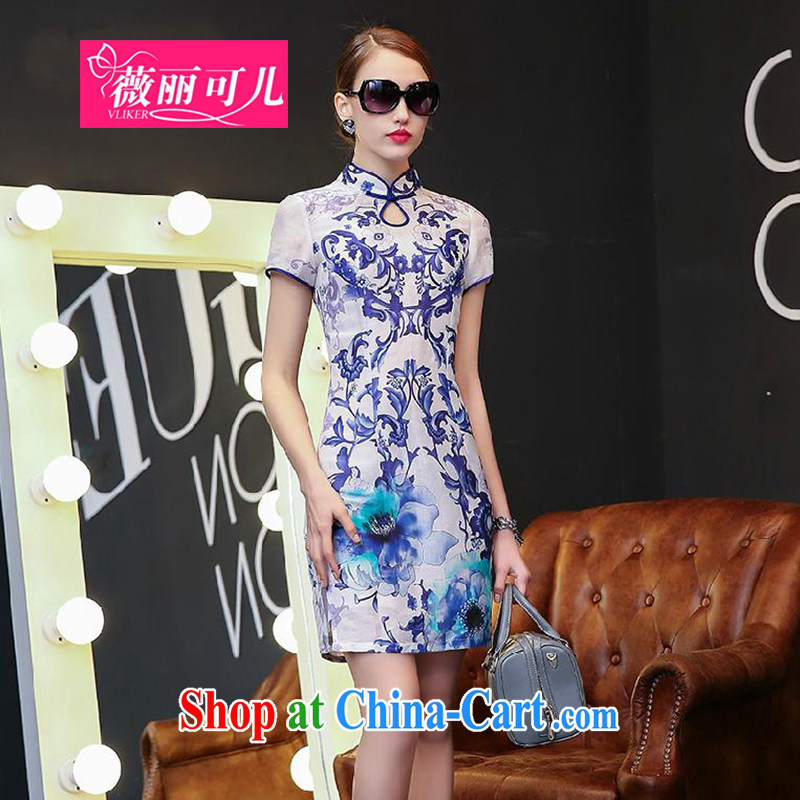 Hon Audrey Eu Yuet Lai to child care 2015 spring and summer new dresses Ethnic Wind stamp porcelain was short-sleeved Silk Dresses beauty retro style dresses blue and white porcelain XL