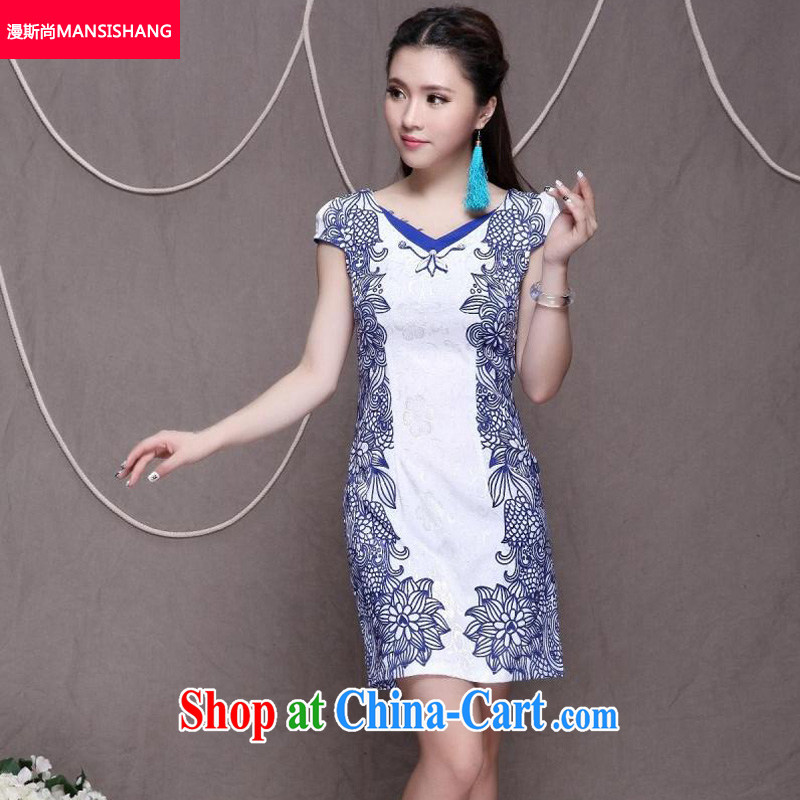 Diffuse, 2015 high-end Ethnic Wind and stylish Chinese qipao dress retro beauty graphics thin cheongsam blue XXL