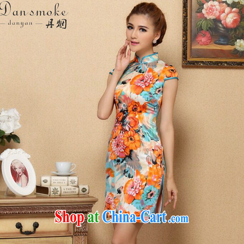 Dan smoke summer girl cheongsam Chinese New cool Silk Cheongsam elegant and stylish sauna Silk Cheongsam banquet Silk Cheongsam as color 2XL