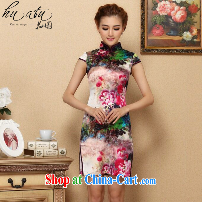 Take the Silk Cheongsam summer new, female Chinese Chinese improved, for retro dresses and elegant sauna Silk Cheongsam short figure color 2 XL