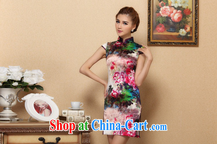 Dan smoke Silk Cheongsam summer new women with Chinese Chinese improved, for retro dresses and elegant sauna Silk Cheongsam short figure color 2 XL pictures, price, brand platters! Elections are good character, the national distribution, so why buy now enjoy more preferential! Health