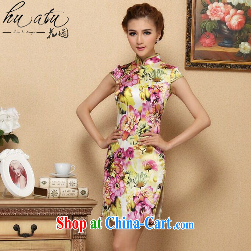 spend the summer, new female cheongsam Chinese Chinese improved, their noble sauna Silk Cheongsam daily Silk Cheongsam short figure color 2 XL