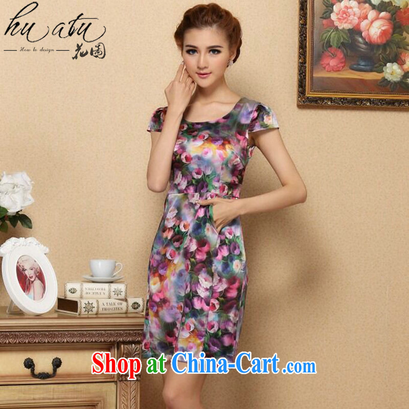 spend the summer, female cool the OSCE with AIDS, silk short-sleeved video thin dresses retro suit sauna Silk Cheongsam dress such as the color 2 XL