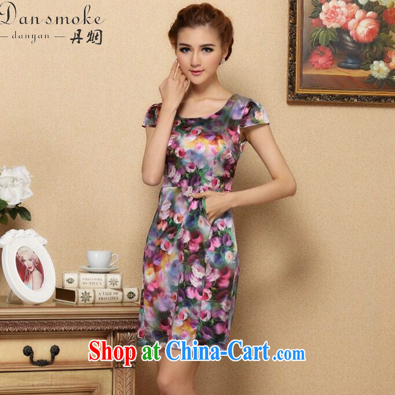 Dan smoke-free summer, female cool d Europe with AIDS, silk short-sleeved video thin dresses retro suit sauna Silk Cheongsam dress such as the color 2 XL