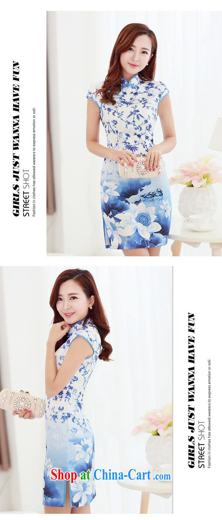 XUAN FENG 2015 summer new Korean beauty, short-sleeved fine stamp stylish retro cheongsam dress picture color XXL pictures, price, brand platters! Elections are good character, the national distribution, so why buy now enjoy more preferential! Health