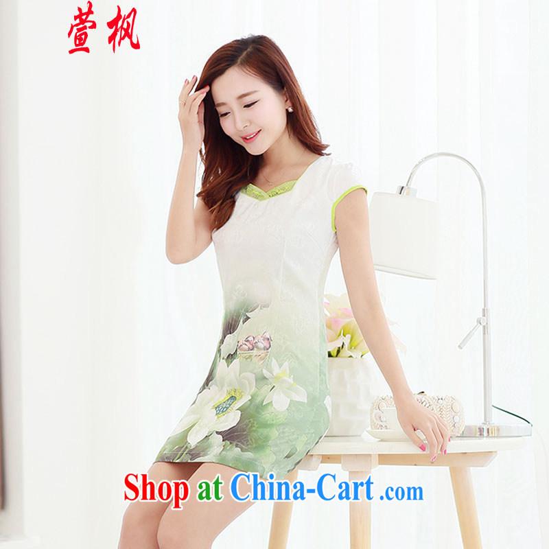 XUAN FENG 2015 summer new Korean Beauty party collar zipper style stamp retro women's clothing cheongsam dress Lotus XXL