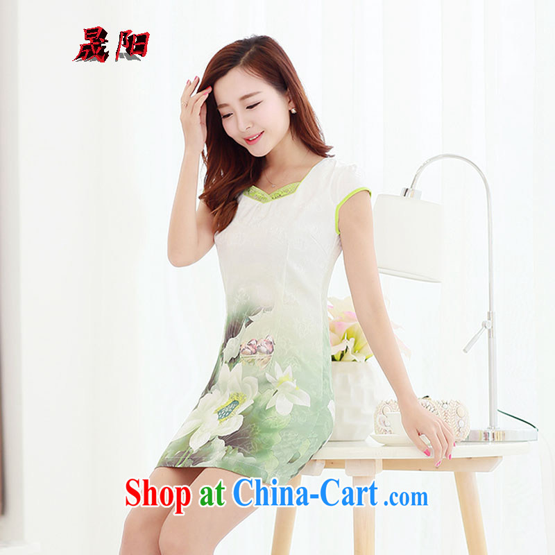 Sung Yang 2015 summer new Korean Beauty party collar zipper style stamp retro dress cheongsam dress Lotus XXL