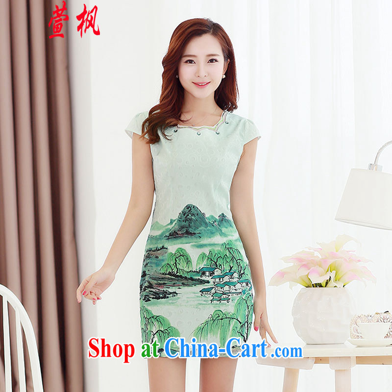 XUAN FENG 2015 summer new Korean Beauty party collar elegant antique stamp stylish girl with short-sleeved cheongsam dress XXL mountains and rivers