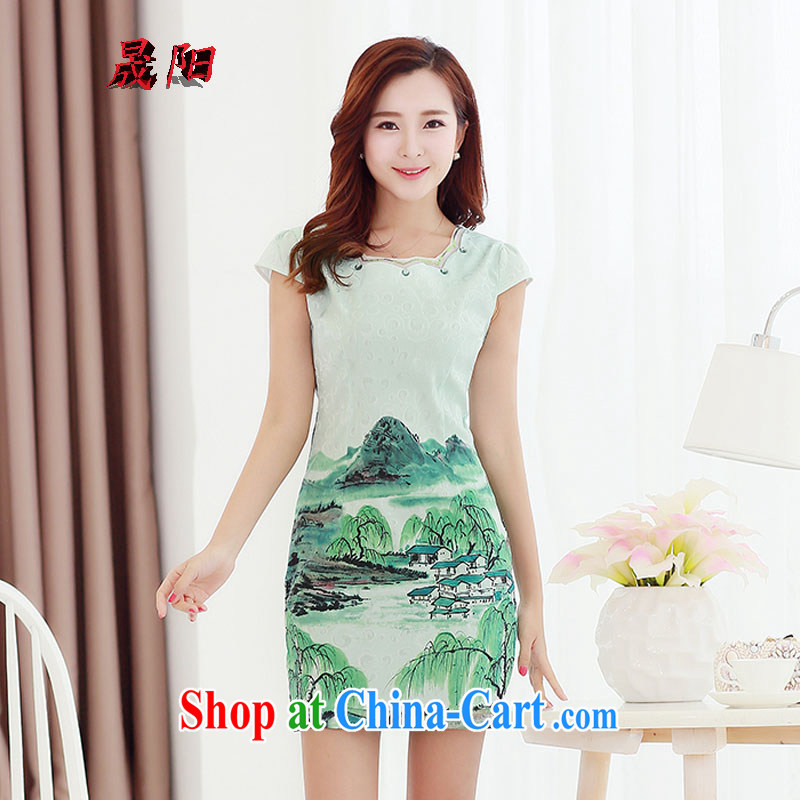 Sung Yang 2015 summer new Korean Beauty party collar elegant antique stamp duty and stylish girl with a short-sleeved qipao dresses and rivers XXL