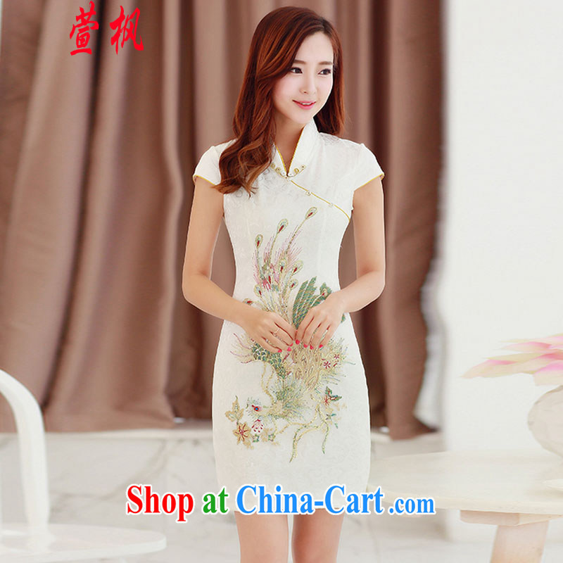 XUAN FENG 2015 summer new Korean beauty, for beautiful embroidered Stylish retro women's clothing short sleeve cheongsam dress beige XXL