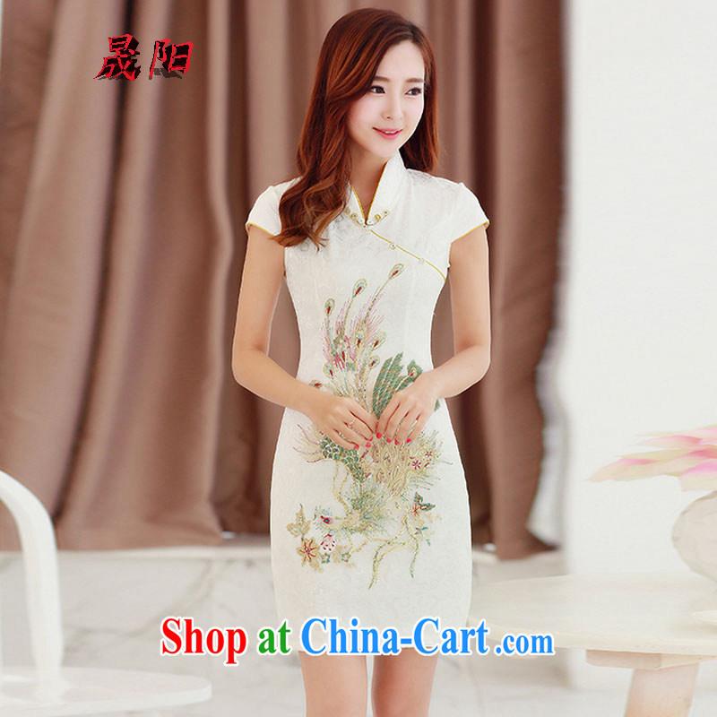 Sung Yang 2015 summer new Korean version, cultivating their beautiful embroidered Stylish retro ladies short sleeve cheongsam dress beige XXL