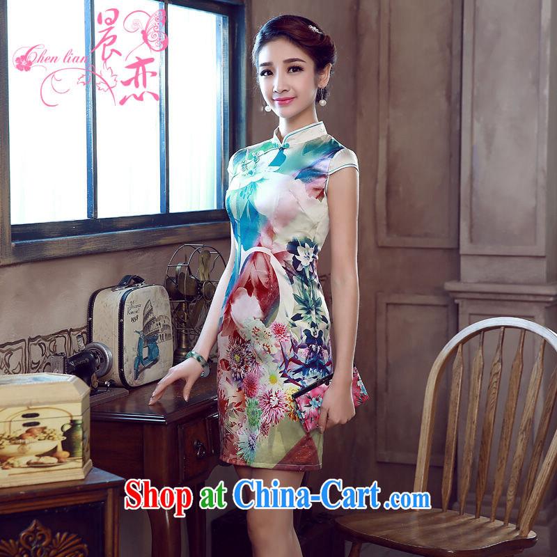 Morning dresses, new summer retro short improved stylish sauna silk silk Chinese qipao dress floral green XXL