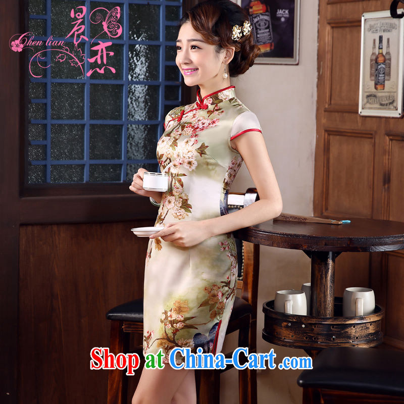 Morning, dresses new 2015 summer retro short improved stylish sauna silk silk Chinese qipao autumn suit de XXL