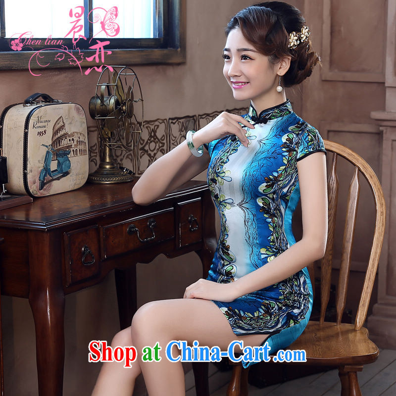 Morning, dresses new 2015 summer retro short improved stylish sauna silk silk Chinese qipao blue carnations blue L