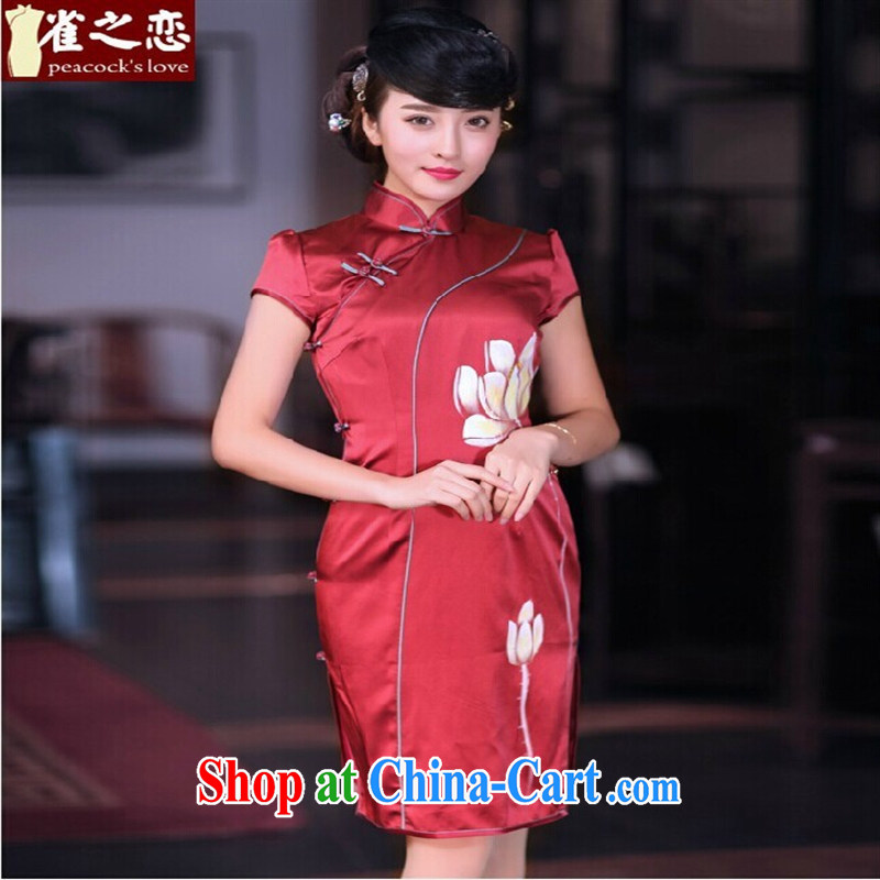 Health concerns women's clothing _ birds of the land at first, like spring 2015 the new hand-painted Lotus retro wedding toast clothing qipao QD 670 red XXL