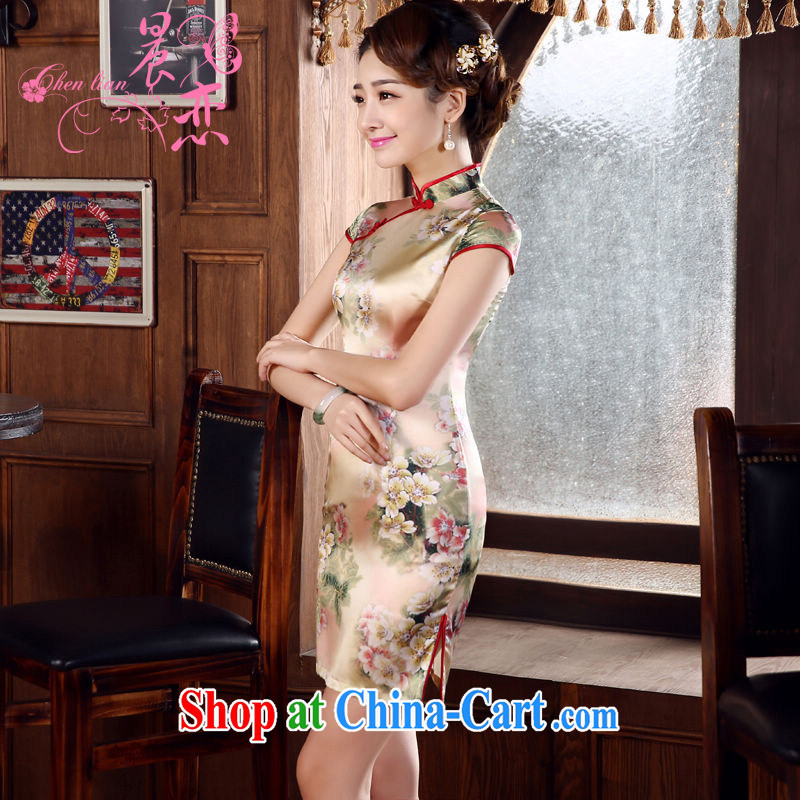 Morning, dresses new 2015 summer retro short improved stylish sauna silk silk Chinese qipao, Autumn L suit