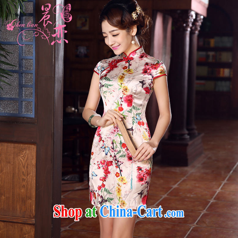 Morning, dresses new 2015 summer retro short improved stylish sauna silk silk Chinese qipao Dejammet XXL suit