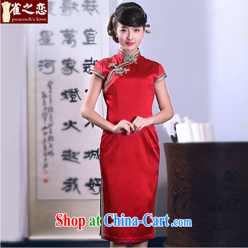 Health concerns women * birds of interpretation so as 2015 spring new dual-edge hand-tie heavy Silk Cheongsam QD 666 red XXL