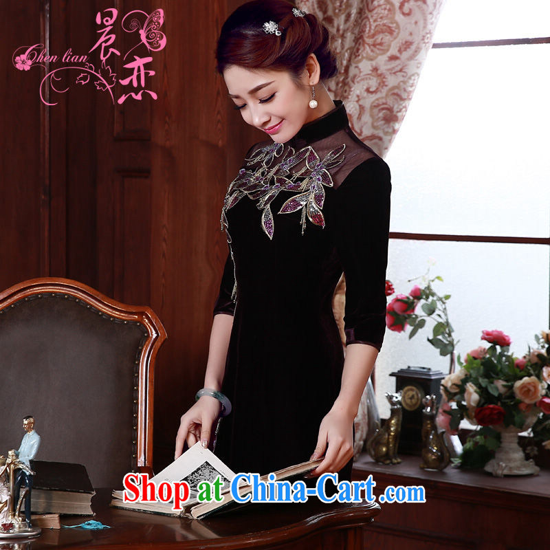 Early Morning, spring 2015 new stylish and refined antique cuff in luxury manually staple Pearl velvet cheongsam dress purple XXL