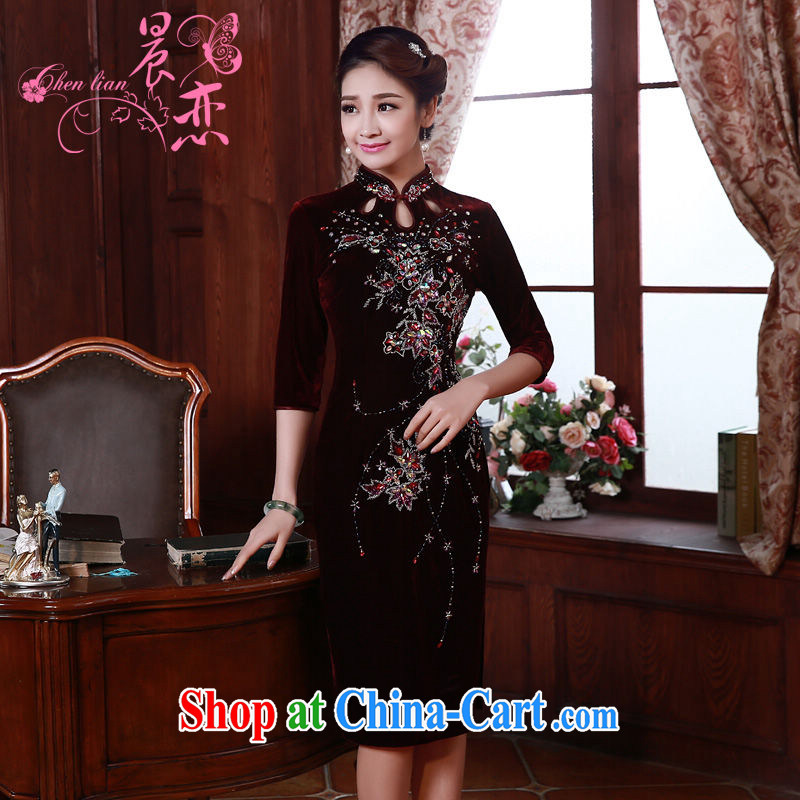 Early Morning, spring 2015 new stylish and refined antique cuff in luxury manually staple Pearl velvet cheongsam dress wine red XL