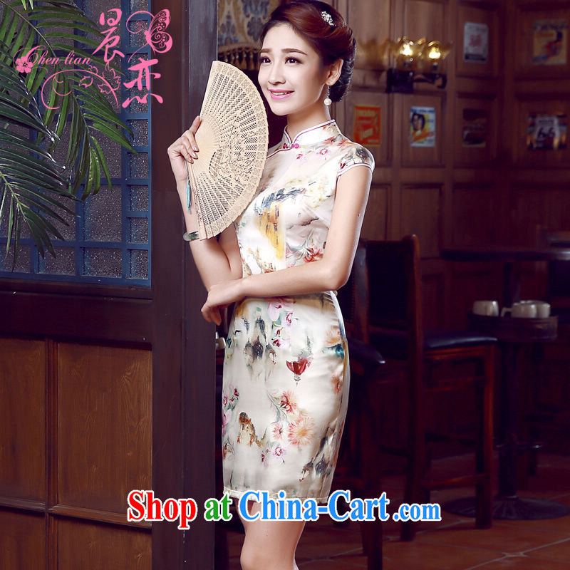 Morning dresses, new summer retro short improved stylish sauna silk silk Chinese qipao dress air the champagne color XXL
