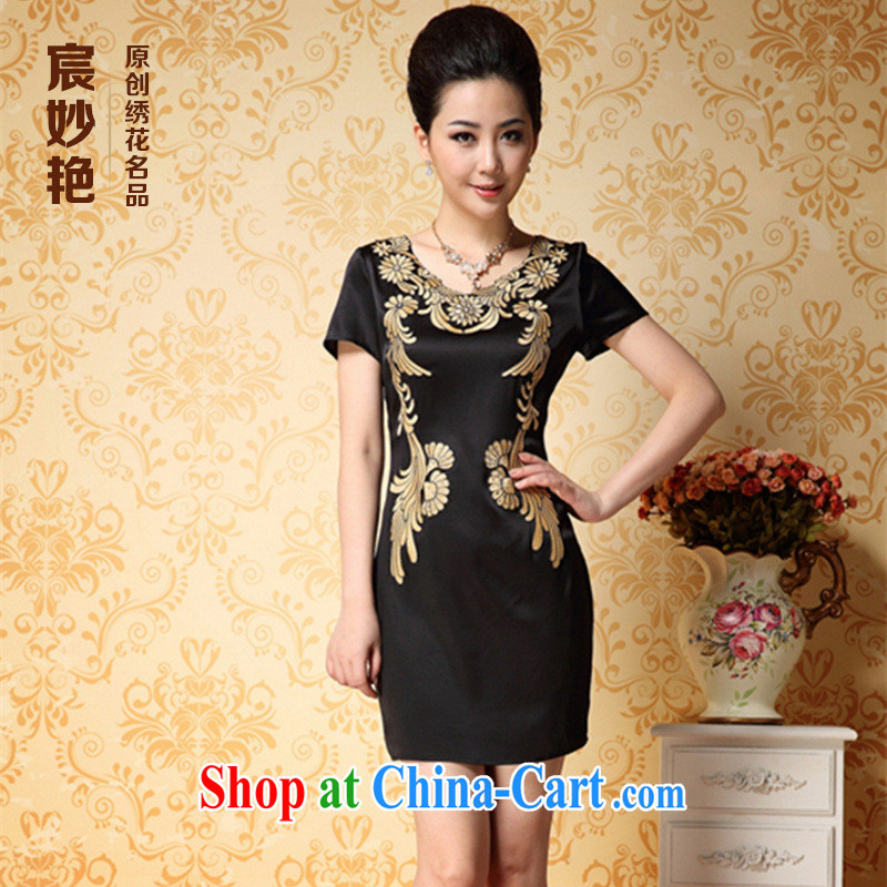 Health concerns women * middle-aged and older female summer short-sleeved heavy South Korea sauna silk Silk Dresses elegant and exclusive embroidery MOM black XL