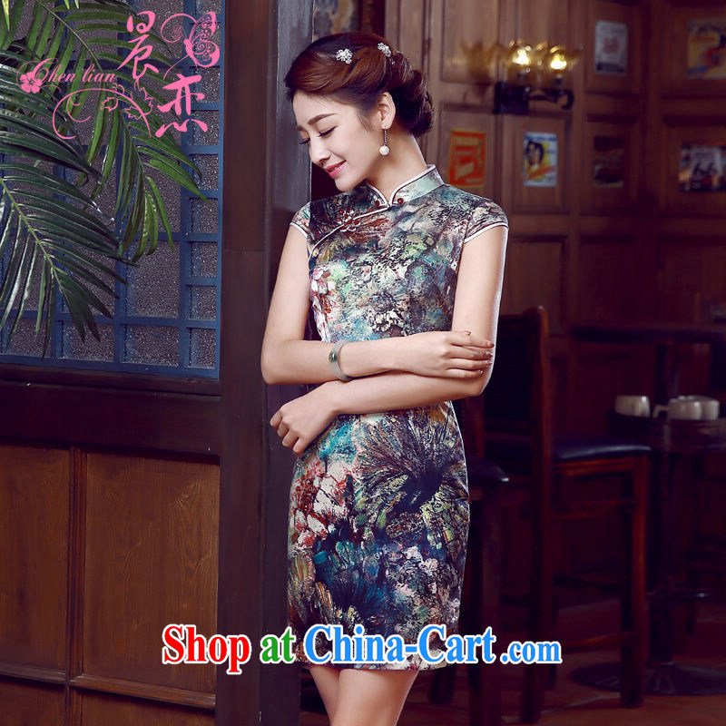 Morning dresses, new summer retro short improved stylish sauna silk silk Chinese qipao dress water following suit L