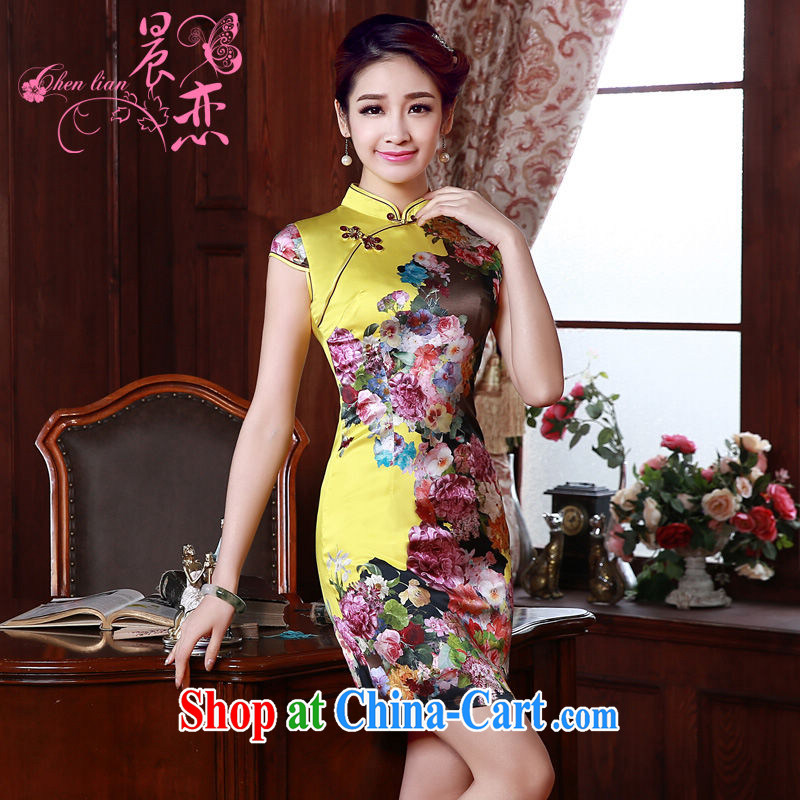 Morning dresses, new summer retro short improved stylish sauna silk silk Chinese qipao dress yellow Peony yellow M