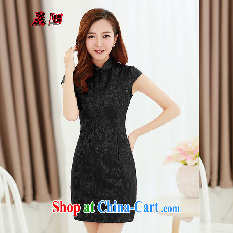Sung Yang 2015 summer Korean beauty, short-sleeved solid colors and Stylish retro dress cheongsam dress black XXL