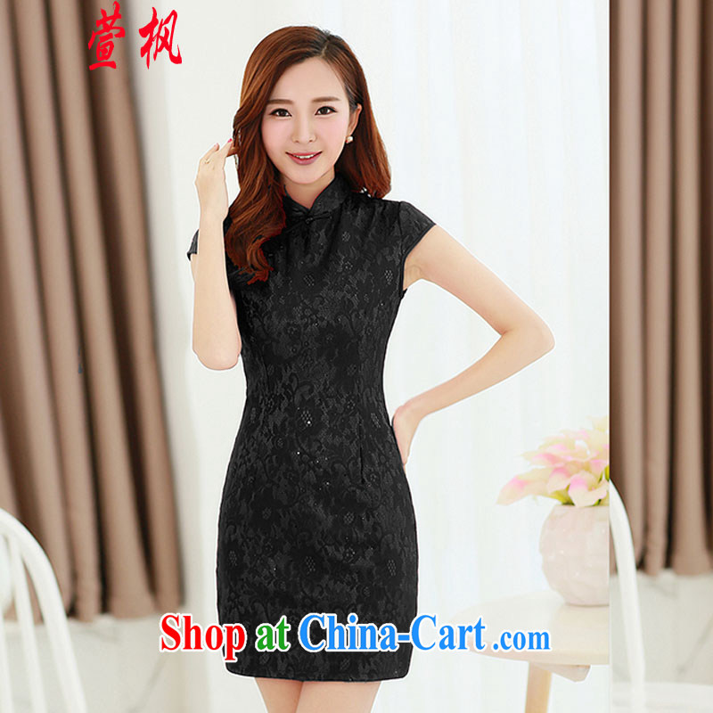 XUAN FENG 2015 summer Korean beauty, short-sleeved solid stylish retro dress cheongsam dress black XXL