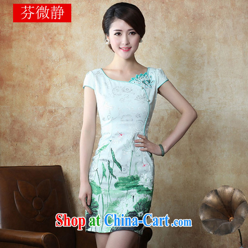 2015 National wind New Tang with stylish and improved Daily Beauty sexy cheongsam dress 632 green XL