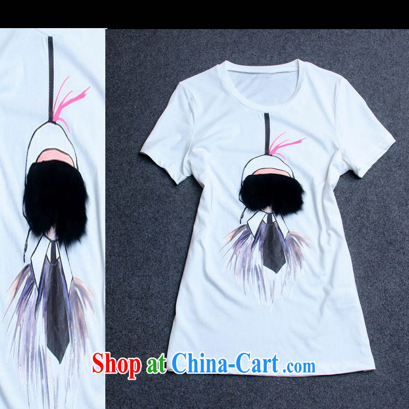 hamilton summer new lovely Fox hair cool Eve round-collar short-sleeve female T shirts summer girls T-shirt Y 37,415 white L