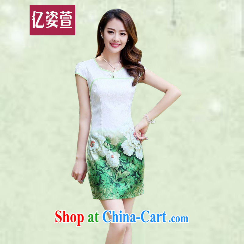 100 million Dollar standing Silent Spring Summer 2015 new women dress improved daily short skirt lady beauty graphics thin elegant qipao skirts 9818 green Peony XXL