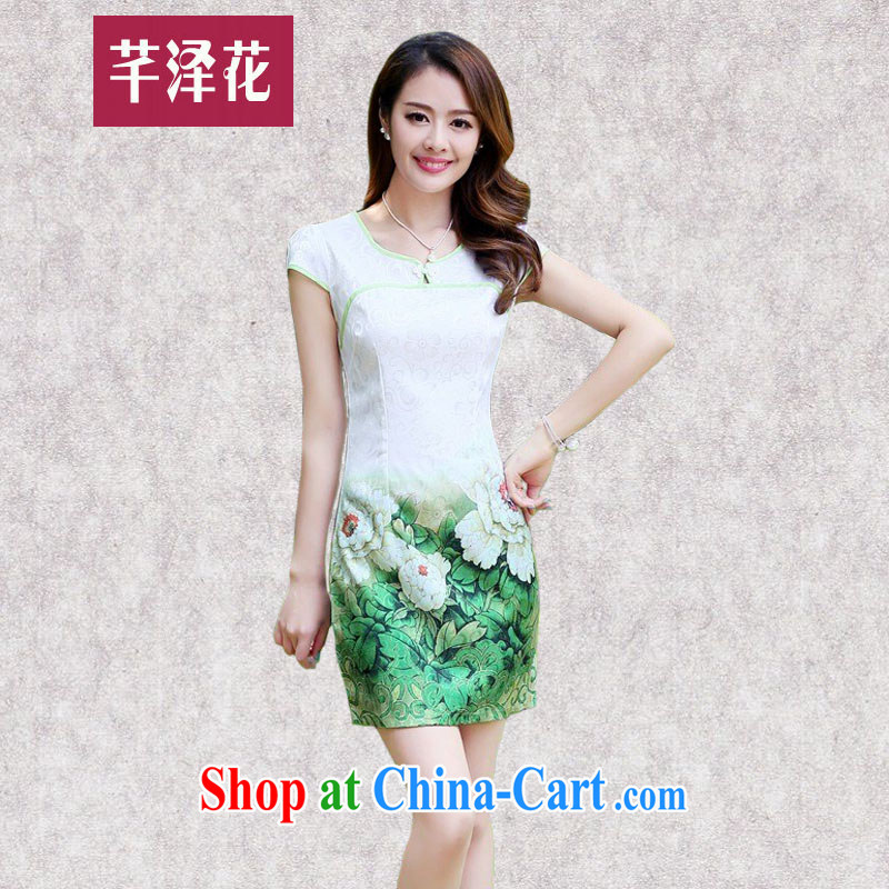 Constitution, spent summer 2015 new style women's clothing improved cheongsam daily short skirt lady beauty graphics thin style elegant dresses 9818 green Peony M
