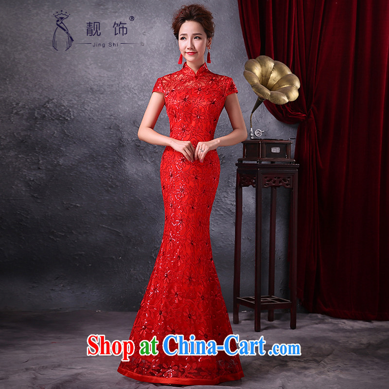 Beautiful ornaments 2015 new marriage long improved cheongsam dress uniform toast crowsfoot elegant beauty evening dress Red. Contact customer service