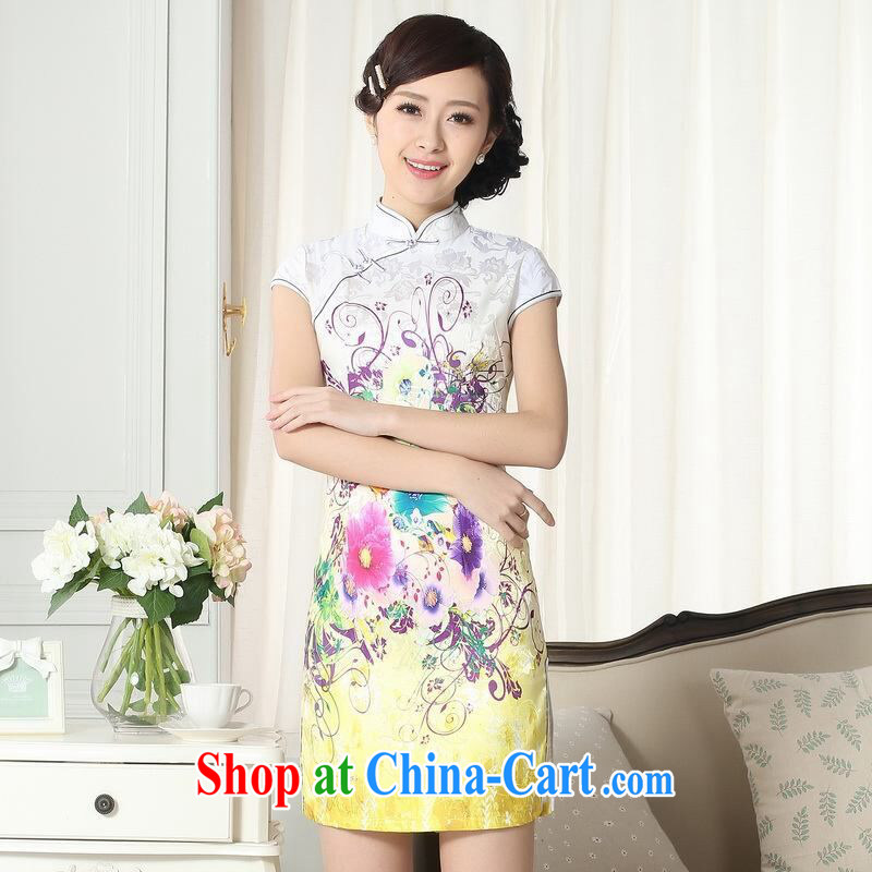 An Jing lady stylish jacquard cotton cultivating short cheongsam dress new Chinese qipao gown picture color 2 XL