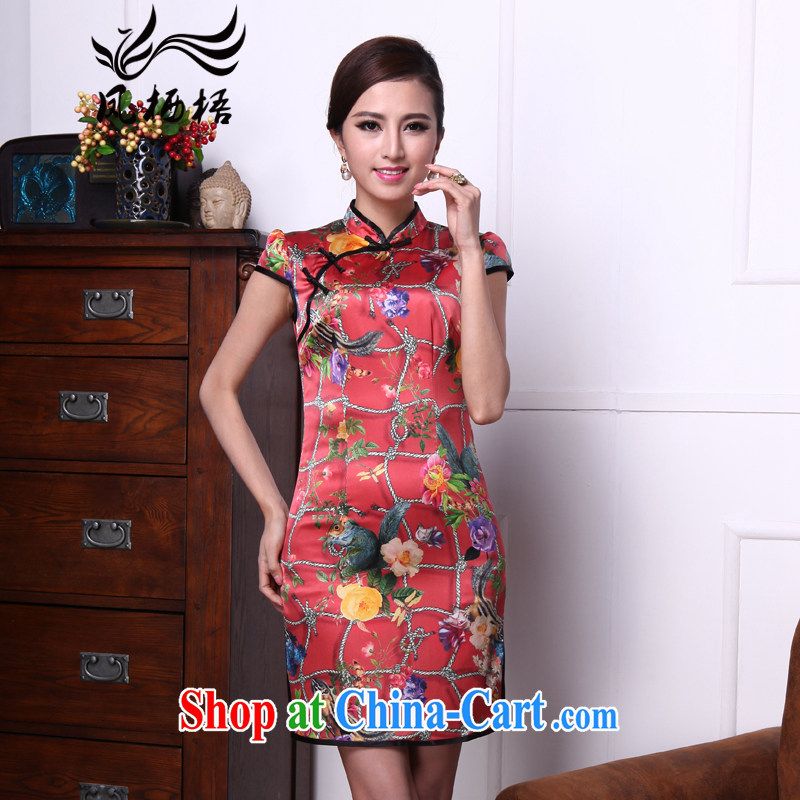Bong-amphibious Ori-summer summer 2015 New Silk Cheongsam floral retro beauty heavy Silk Cheongsam dress DQ 1543 fancy XXL