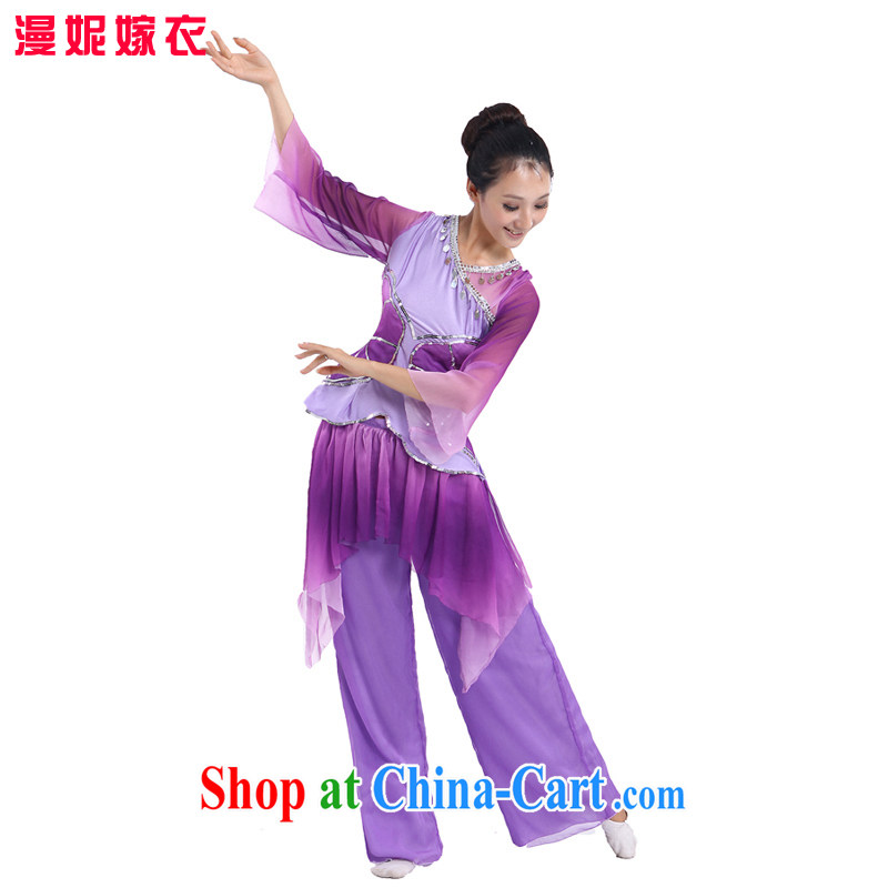 Spring 2015 new costumes classical dance clothing ethnic performances Yangge serving serving Oi-lin said fairy stage costumes Fan Dance apparel old square dance package purple XXL