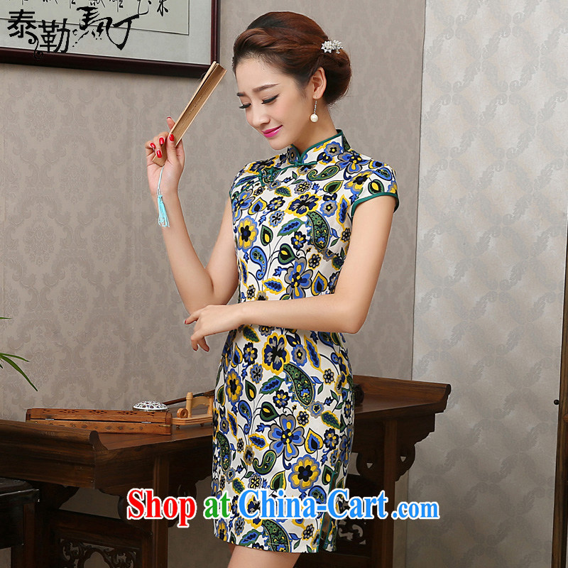 Martin Taylor spring and summer new daily the cheongsam short female beauty graphics thin improved antique cheongsam dress suit XXL
