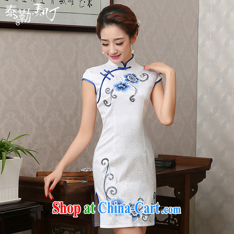 2015 spring and summer, embroidery cheongsam short video thin package and improved lady cheongsam dress daily serving white M