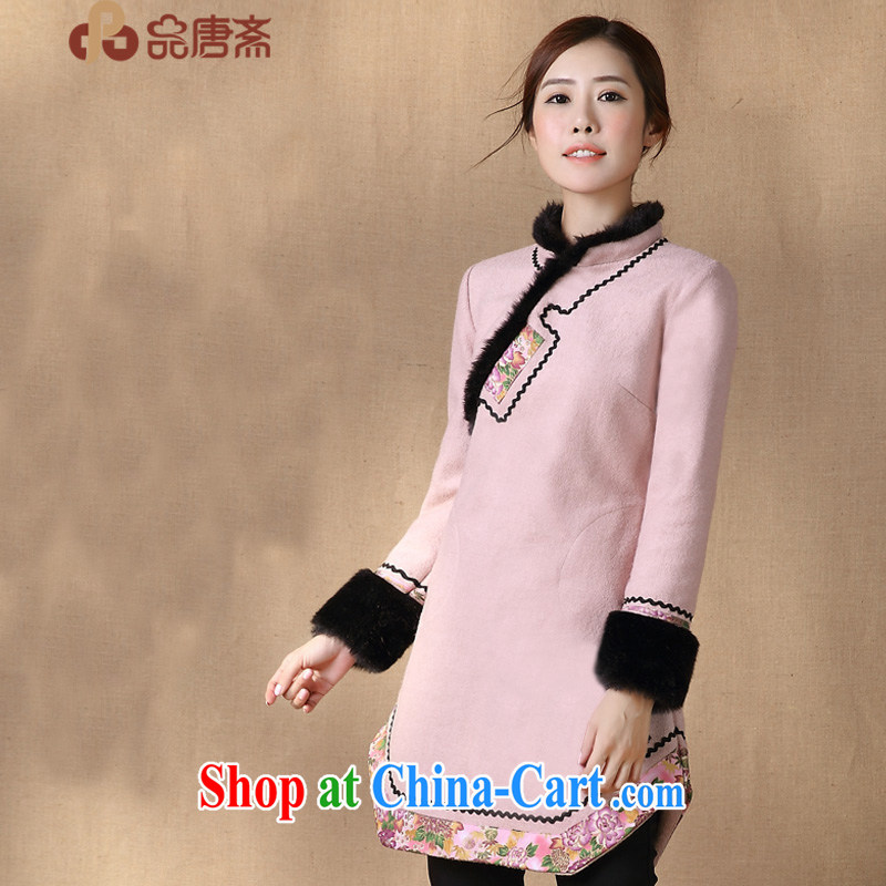 Mr Henry Tang, Ramadan 2014 winter clothes new Ethnic Wind long-sleeved improved stylish dresses T-shirt pale pink XXL