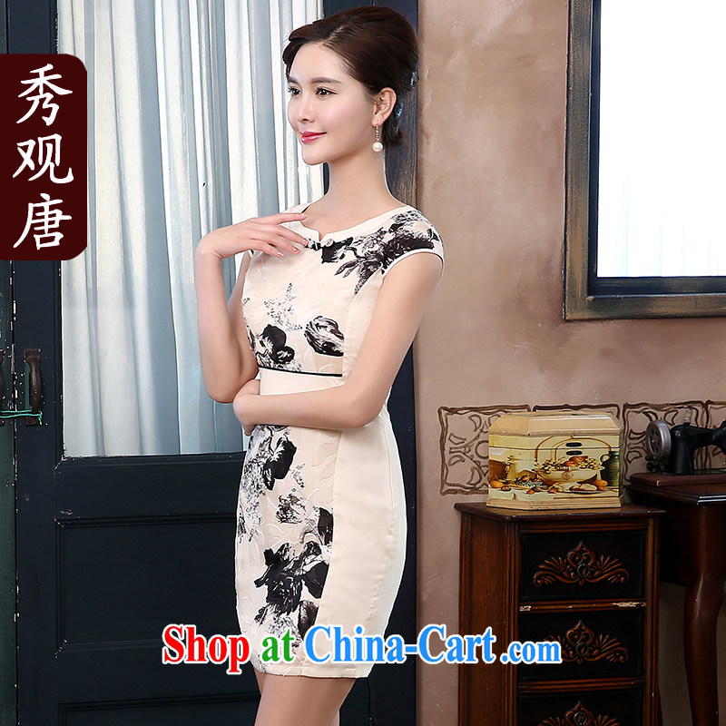 The CYD HO Kwun Tong' ink gallery 2015 spring and summer new dresses retro improved daily Ethnic Wind dresses QD 4288 beige L